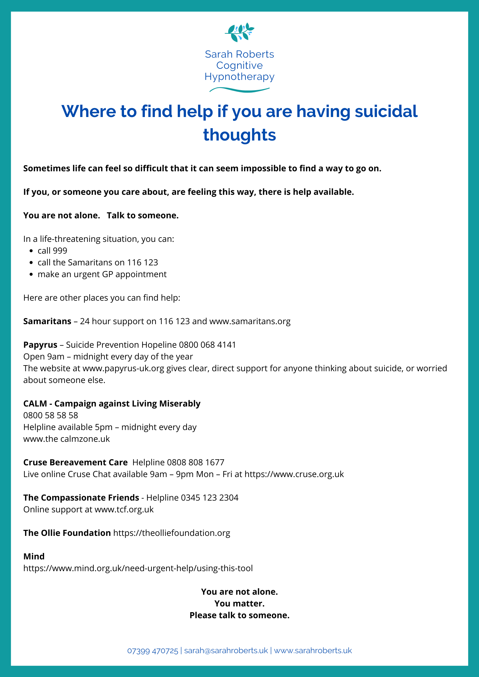 Where to find help with suicidal thoughts